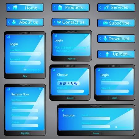navigation panel: illustration of set of web form template in mobile