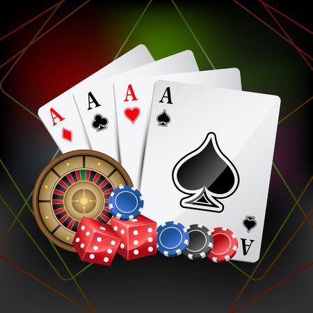 roulette game: illustration of playing card with poker and roulette