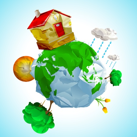 environment geography: illustration of house and tree around globe made of paper