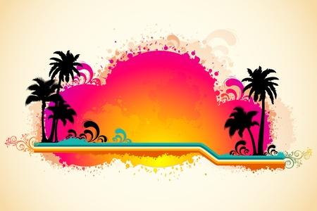 arbre     ? � feuillage persistant: Illustration de la vue de plage de mer grungy avec palmier et sun Illustration
