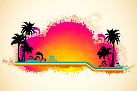 illustration of grungy sea beach view with palm tree and sun