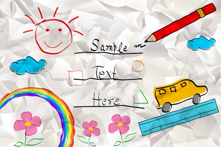 illustration of rainbow with van and pencil in kid card Vector