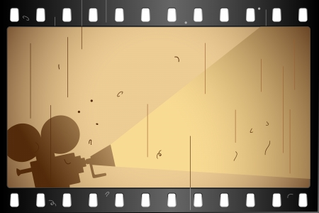 movie projector: illustration of film strip frame on abstract background Illustration