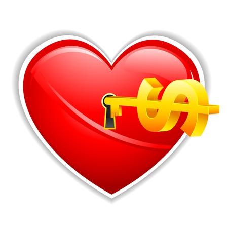 illustration of dollar key in heart shape lock Stock Vector - 9883692