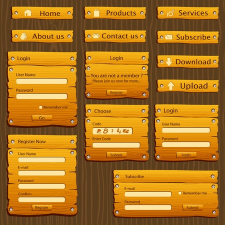 illustration of set of web form template in wooden style Vector