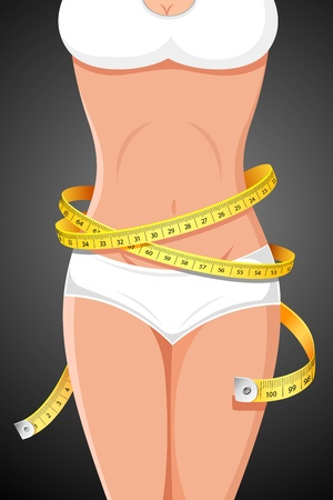 waist weight: illustration of slim lady with measuring tape