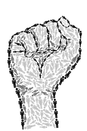 illustration of fist made of human icon on isolated background Vector
