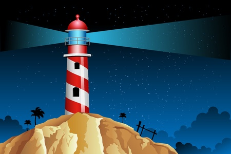 illustration of rays coming out from lighthouse in night Vector