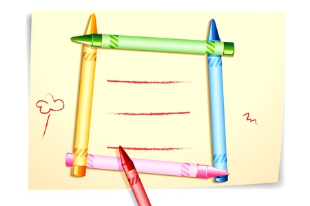 illustration of colorful crayon forming frame on canvas paper Stock Illustration - 9883703