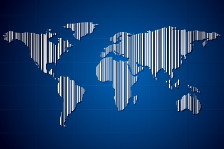 illustration of world map made of barcode on abstract background Vector