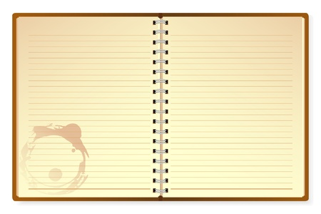 pocketbook: illustration of open diary on isolated white background