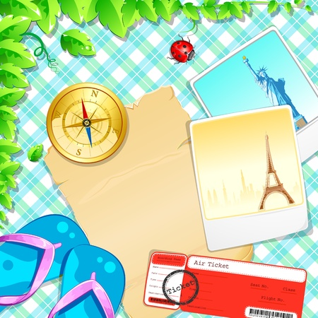 the ancient pass: illustration of photograph with slipper and air ticket on pattern background Illustration