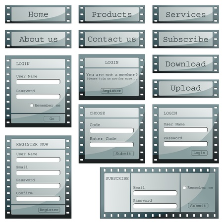 illustration of set of web templates with login,registeration and sign up forms in film strip style Stock Illustration - 9883746