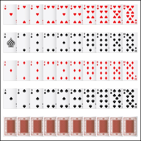 knave: illustration of complete set of playing card on isolated background