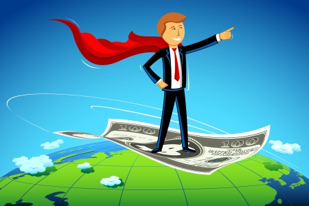 flying man: illustration of business man flying on dollar note above earth