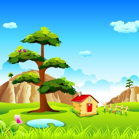 Ilustración de la vista del valle natural con cabaña y montaña