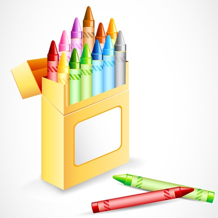 artboard: illustration of pack full of colorful crayon color