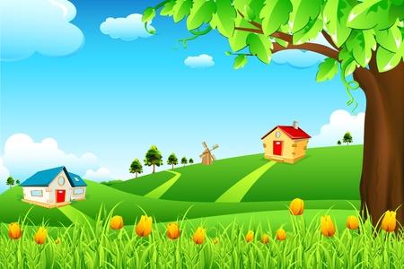 praterie: illustrazione del paesaggio con fiori e capanne