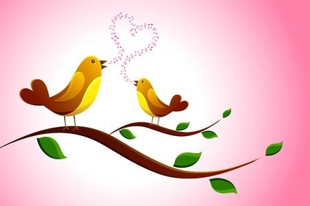 illustration of pair of love bird singing love song Vector