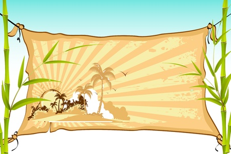 illustration of sea beach on cloth banner tied with bamboo tree Stock Vector - 9883766