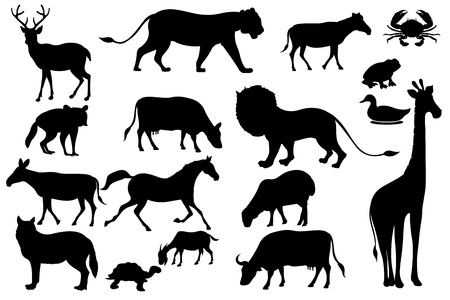 illustration of set of animal silhouette in black Vector
