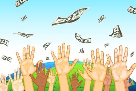 raining background: illustration of human hand catching dollar note on earth background Illustration