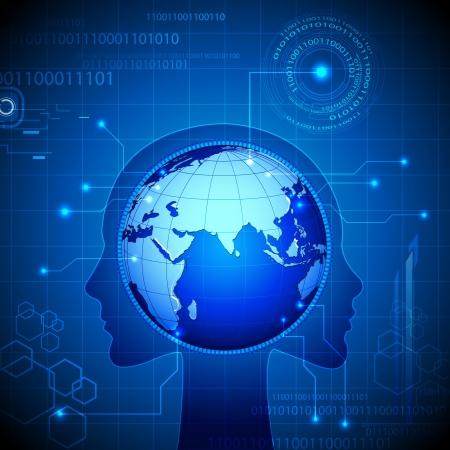 meridiano: Ilustración de globo en la mente de los humanos sobre fondo tecnológico Vectores