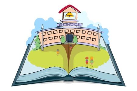 scholar: illustration of kids going to school on open book