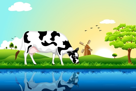 illustration of cow grazing in field with tree and windmill in background Illustration