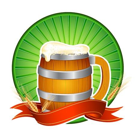 pitcher: illustration of beer mug with barley and ribbon