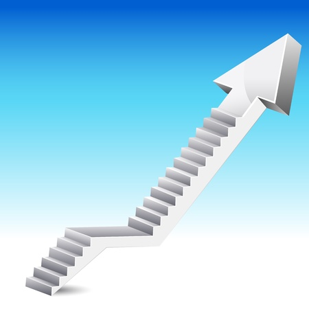 upward graph: illustration of stair in shape of upward arrow on abstract background Stock Photo