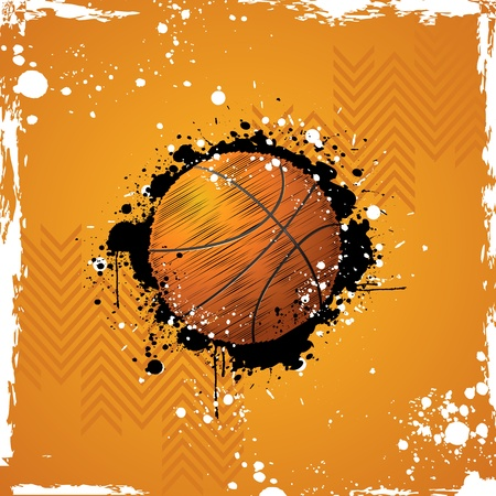 athletic symbol: illustration of basketball on abstract grungy background