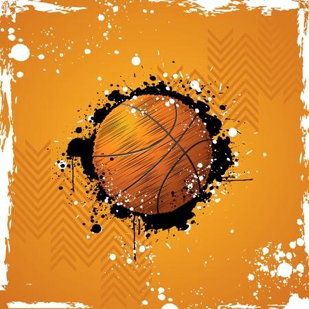 baloncesto: Ilustraci�n de baloncesto en abstracto fondo grungy
