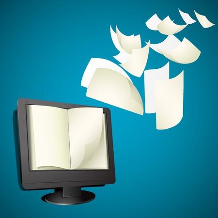 illustration de livre ouvert sur écran d'ordinateur Vecteurs