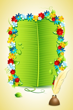 illustration of invitation letter on banana leaf Stock Illustration - 9883807