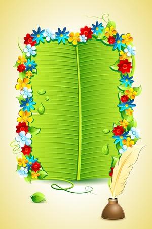 illustration of invitation letter on banana leaf Stock Illustration - 9883807