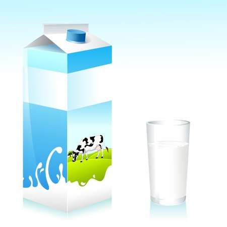 milk cow: illustration of cow on pack of milk and glass Illustration