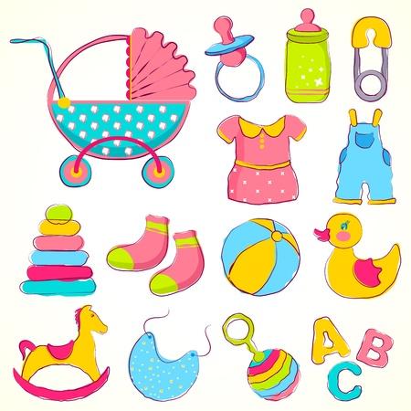 illustratie van ander item voor baby inclusief speelgoed en kleding