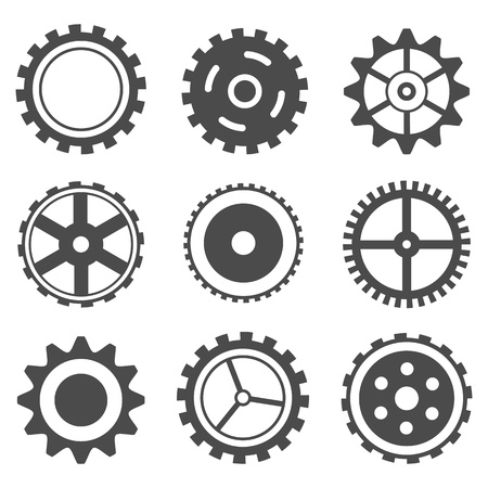 toothed: illustration of set of different cog wheel on isolated background