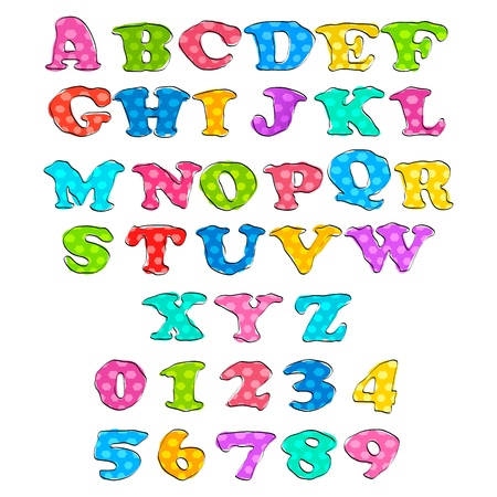illustration of set of alphabet and number in sketchy style Vector