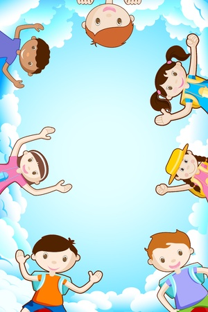 illustration of happy kids smiling on sky backdrop Vector