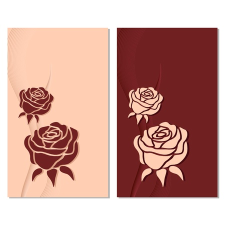 illustration of pair of rose on set of invitation card Vector