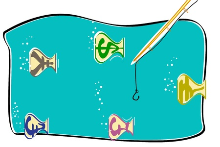 illustration of fish shap currency swimming in water Vector