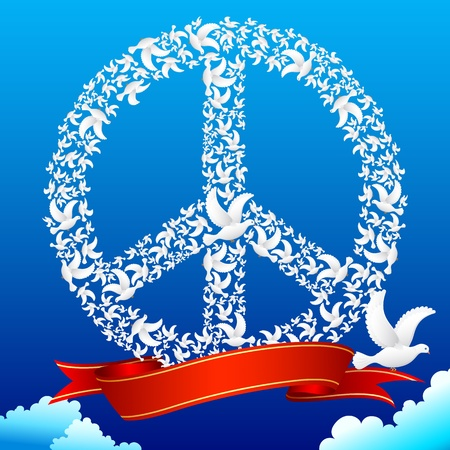 editable sign: illustration of flying pigeon forming peace symbol in sky