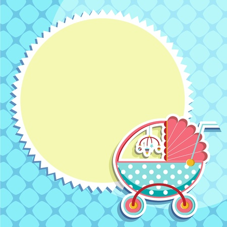 illustration of baby card with baby pram on pattern background Vector