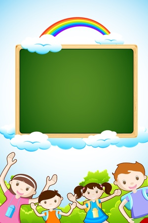 preschool classroom: illustration of kids posing with chalk board on sky background