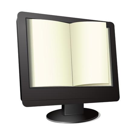 office desktop: illustration of open book on computer screen Illustration