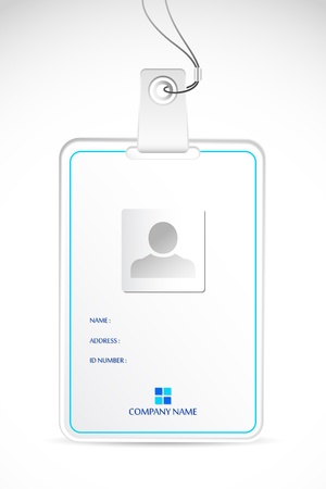 id badge: illustration of blank identity card on abstract background