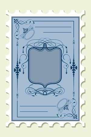 illustration of floral pattern on postal stamp Vector