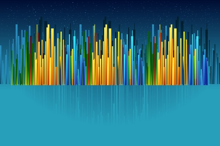 illustration of colorful cityscape on abstract night background Illustration